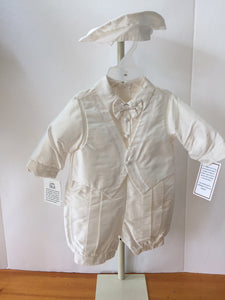 Silk Shantung Christening Romper with Cap