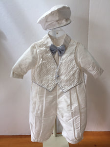 Silk Shantung Christening Romper with Blue Piping and Cap