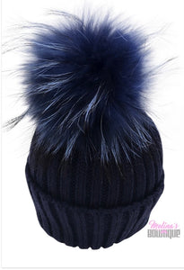 Kid Knit Pom Pom Hat in Navy