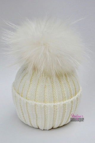 Kid Knit Pom Pom Hat in Ivory