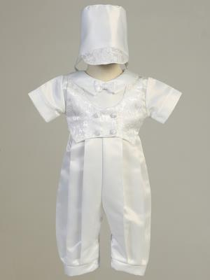 Satin Long Christening Romper with Jacquard Vest & Hat