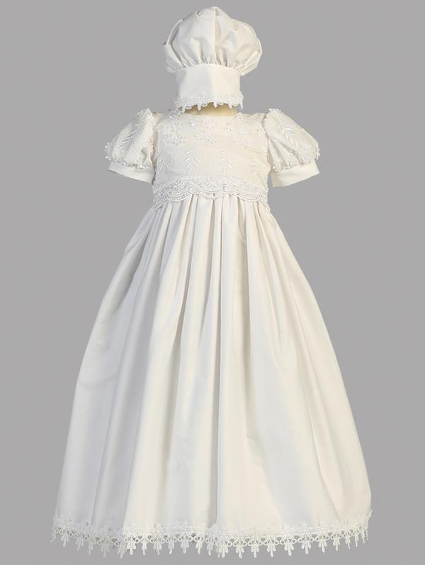 Embroidered Cotton Christening Gown with Bonnet