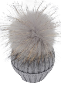 Kid Knit Pom Pom Hat in Gray