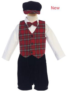 Boys Plaid Holiday Vest with Velvet Knickers