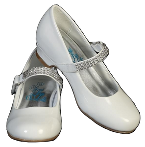 "Girls Communion White 1"" Heel Shoes"