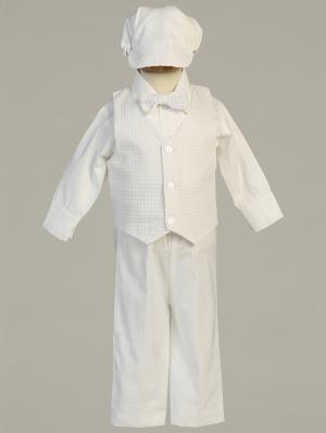 Boys Cotton Christening Pant/Vest Set with Hat