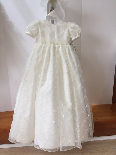 Taffeta Beaded Organza Christening Gown with Bonnet