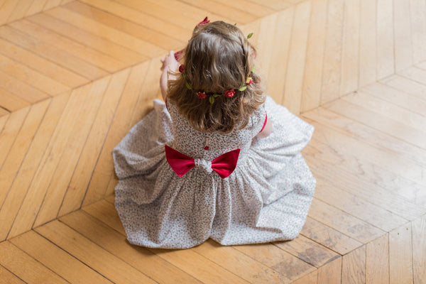 Girls Smocked Holiday Dress in Philippine Red