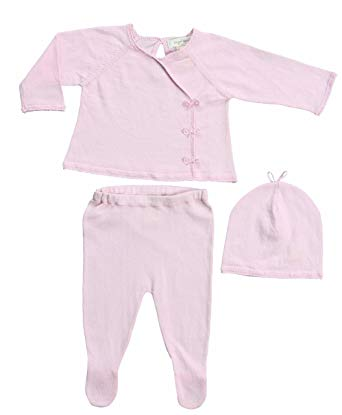 Knit Kimono Take Me Home 3 Piece Set in Baby Pink