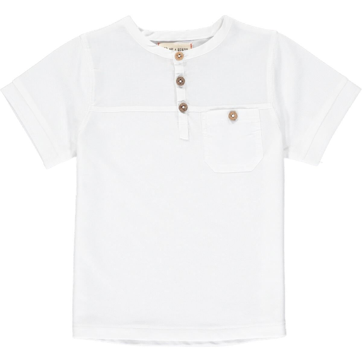 Pique Henley Tee Shirt in White