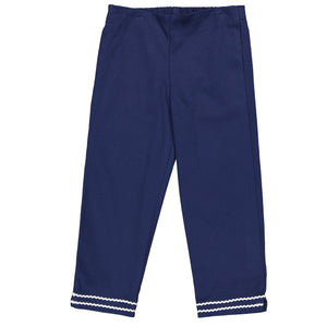 Girls Pique Evie Pant in Navy