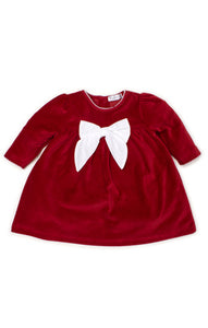 Red Holiday Velour Baby Dress