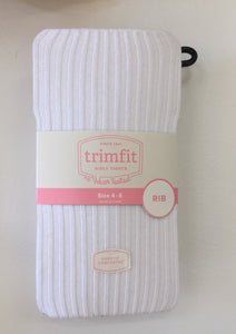 Girls Tights - Ribbed in White or Navy