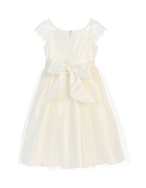 Satin Dress with Lace Sleeve and Pearl Broach in Off White