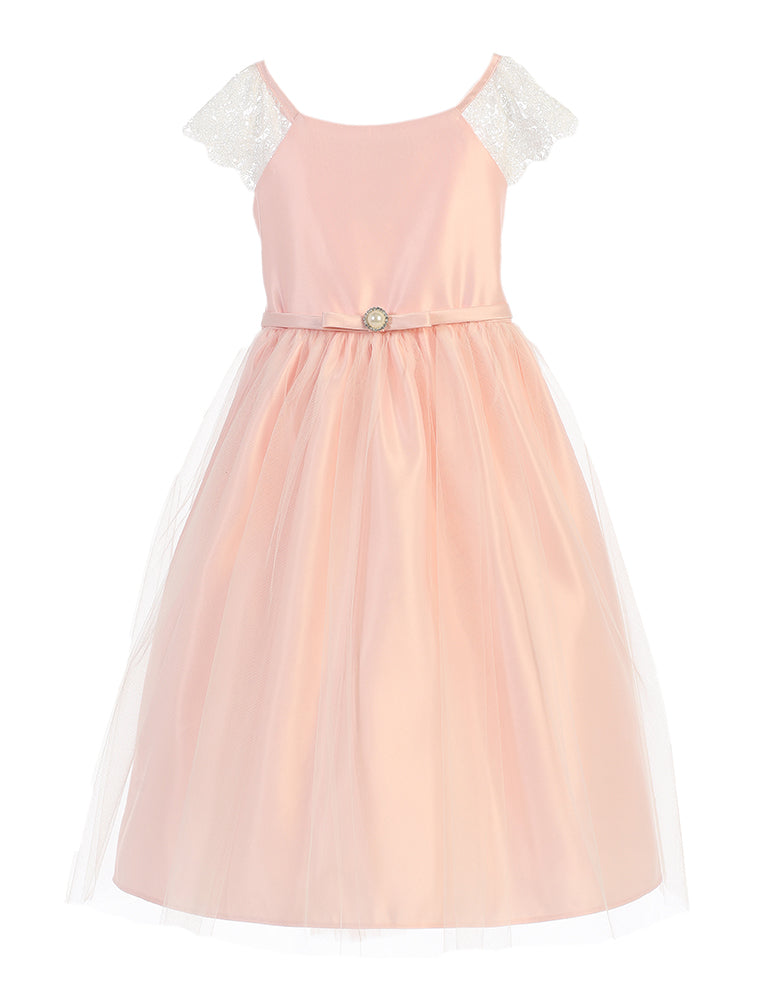 Satin Dress with Lace Sleeve and Pearl Broach in Petal Pink
