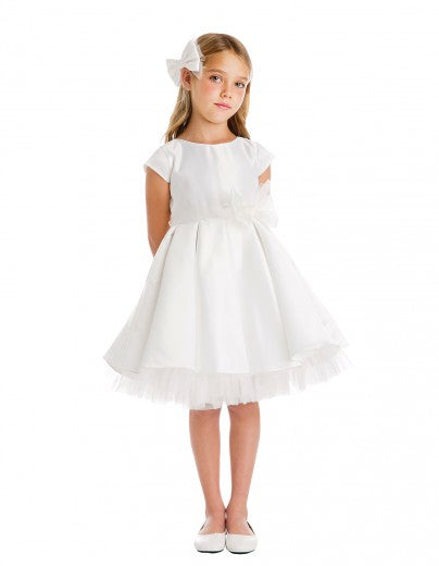 Classic Bow Party Dress in Off White