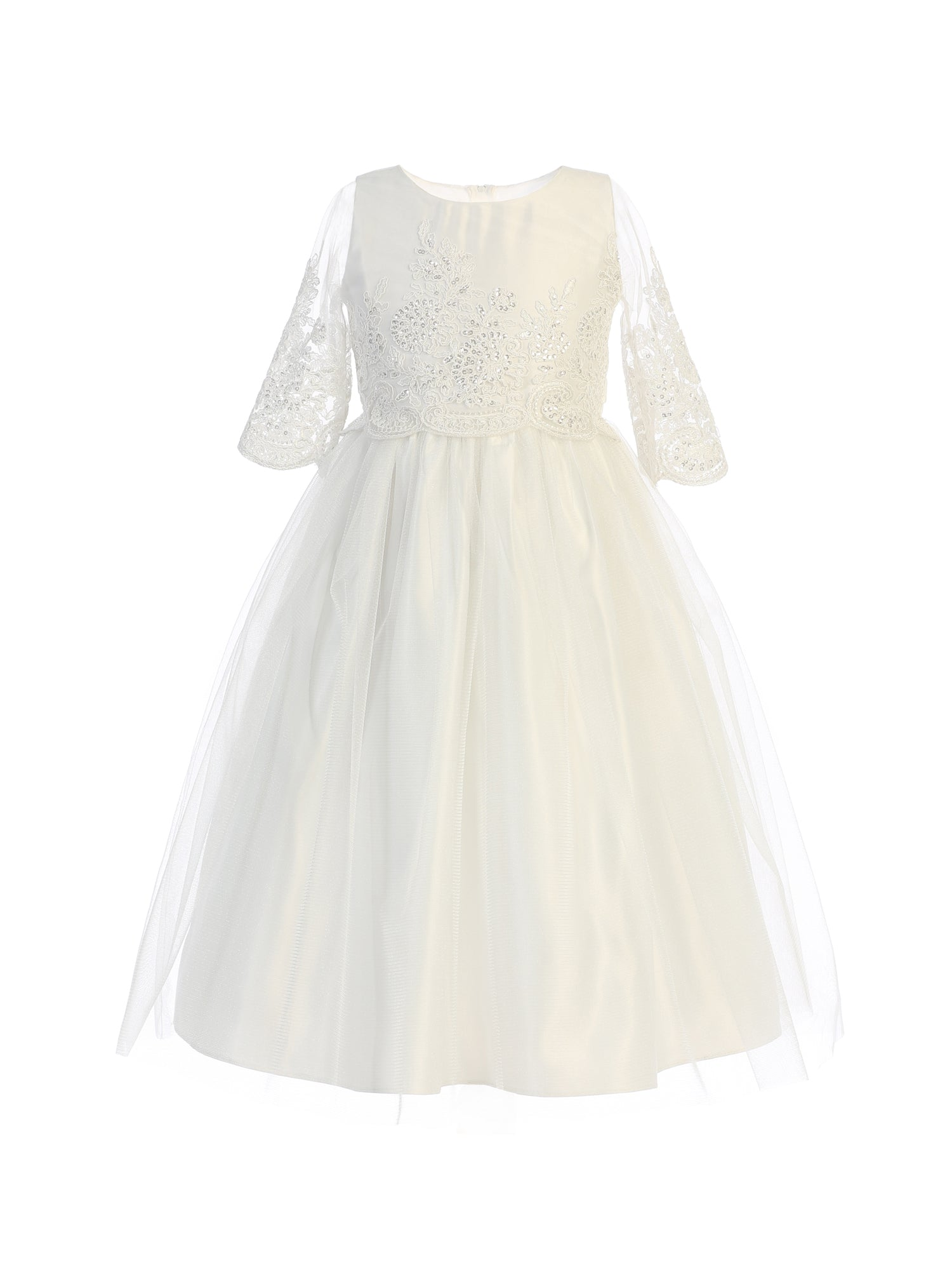 Sequin and Cord Embroidered Tulle Dress in Off White