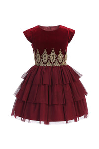 Velvet and Tiered Tulle Party Dress in Burgundy