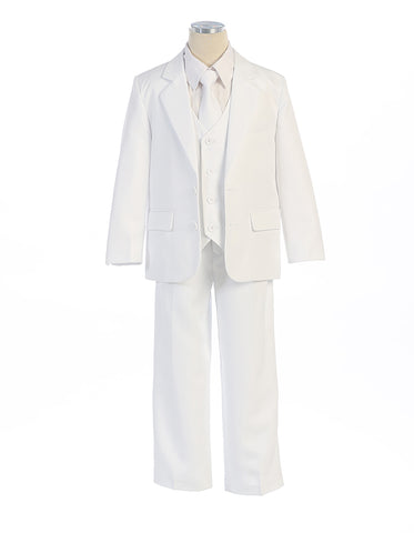 Boys Slim Fit Suit in White