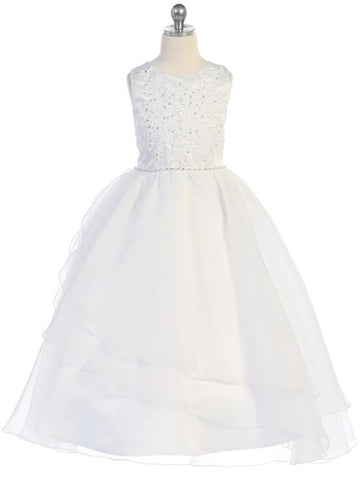 Embroidered Applique & Organza Communion Dress