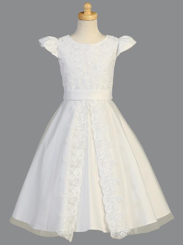 Satin Communion Dress with Corded Lace Applique