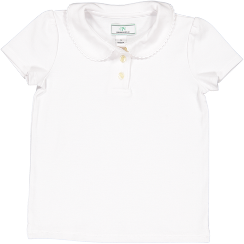 Puffy Sleeve Sarah Polo Shirt in White
