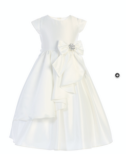 Cascading Satin Dress in White