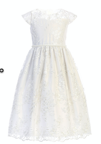 Embroidered Lace & Tulle Dress in White