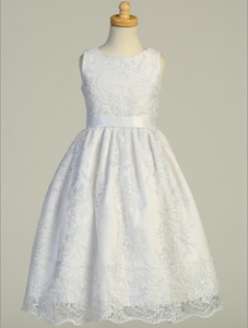 Embroidered Lace on Tulle Communion Dress