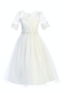 Floral Lace Sleeve and Shimmer Tulle Dress in White