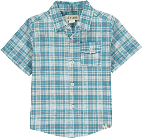 Boys S/S Button Down Shirt in Teal & White Plaid