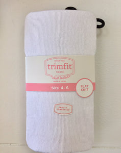 Girls Tights - Flat Knit in White