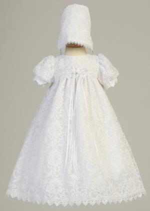 Lace Christening Dress with Bonnet