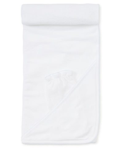 Hooded Towel with Mitt in White with Light Blue
