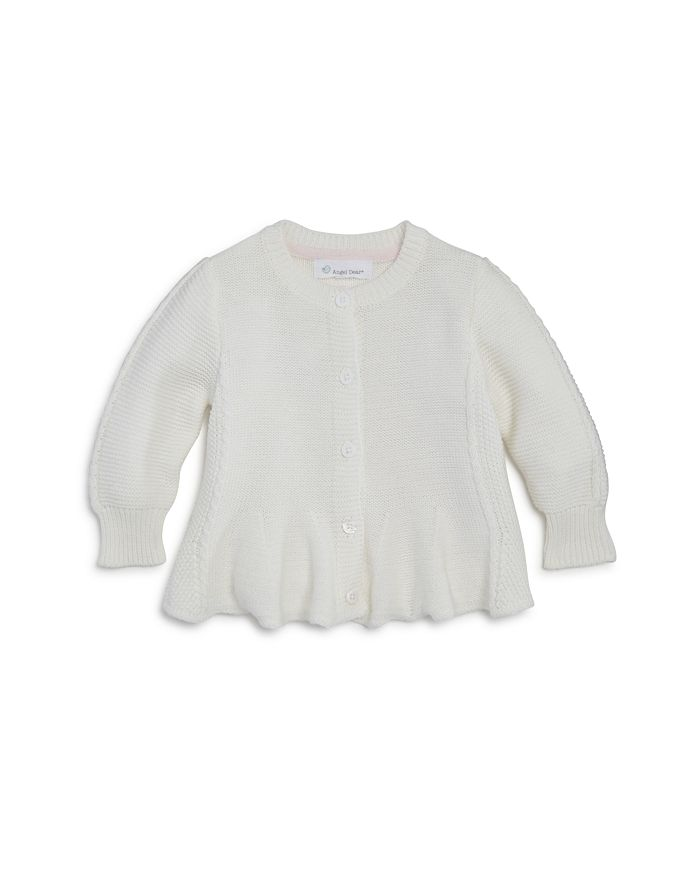 Seed Stitch Flared Cardigan - White