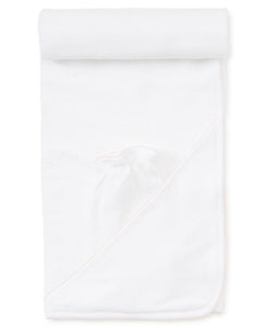 Hooded Towel with Mitt in White with Pink