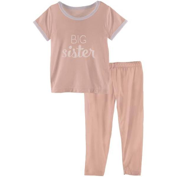 Kickee Pants Short Sleeve Pajama Set in Blush Big Sister
