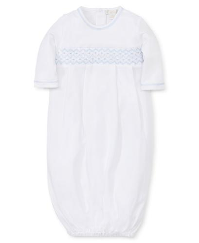 Hand Smocked CLB Sack Gown & Hat Set in White / Blue