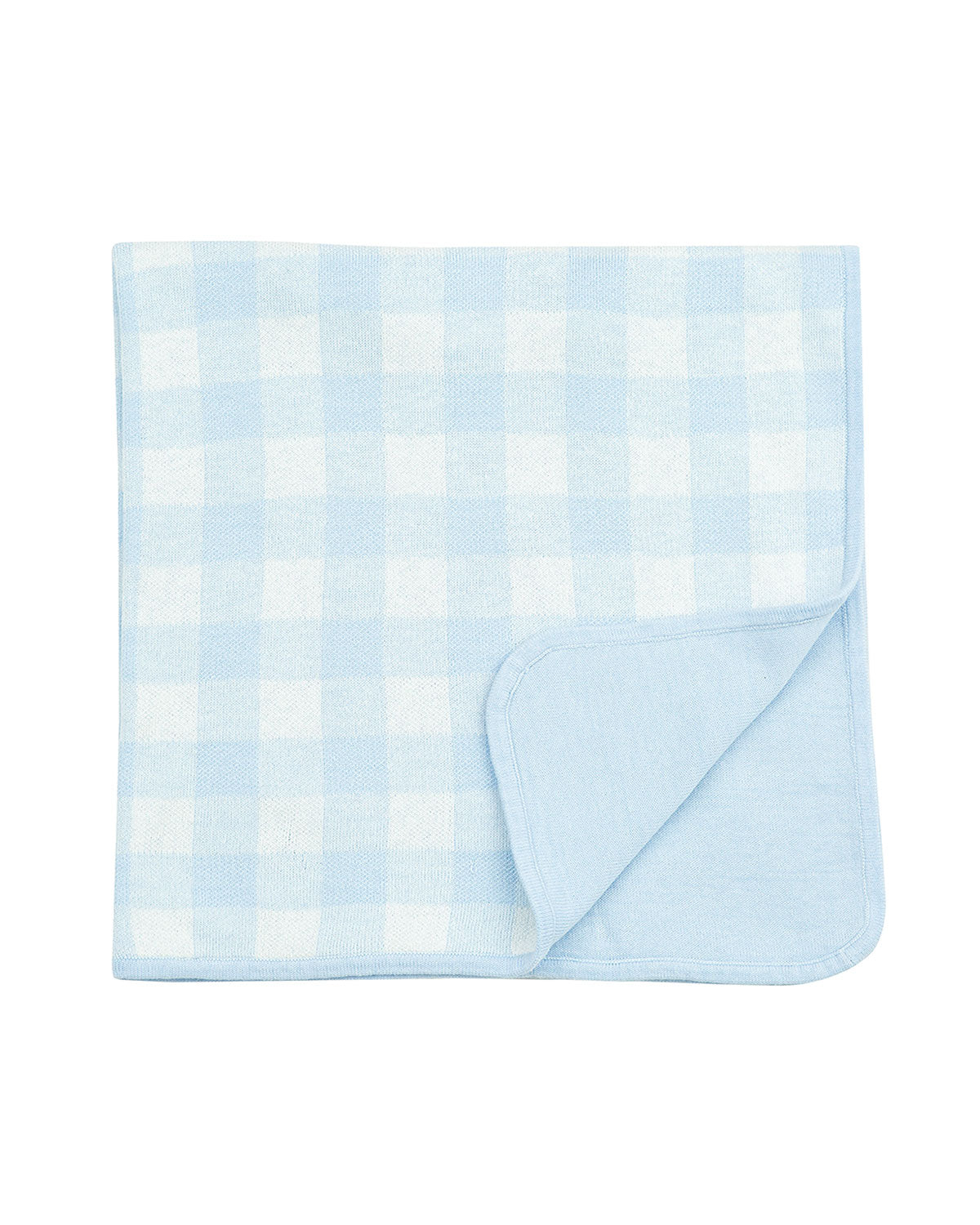 Knit Baby Blanket in Blue Gingham