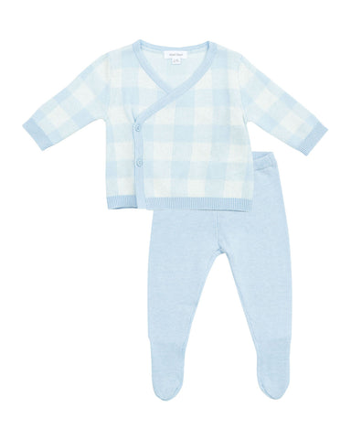 Knit Take Me Home 3 Piece Set in Blue Gingham