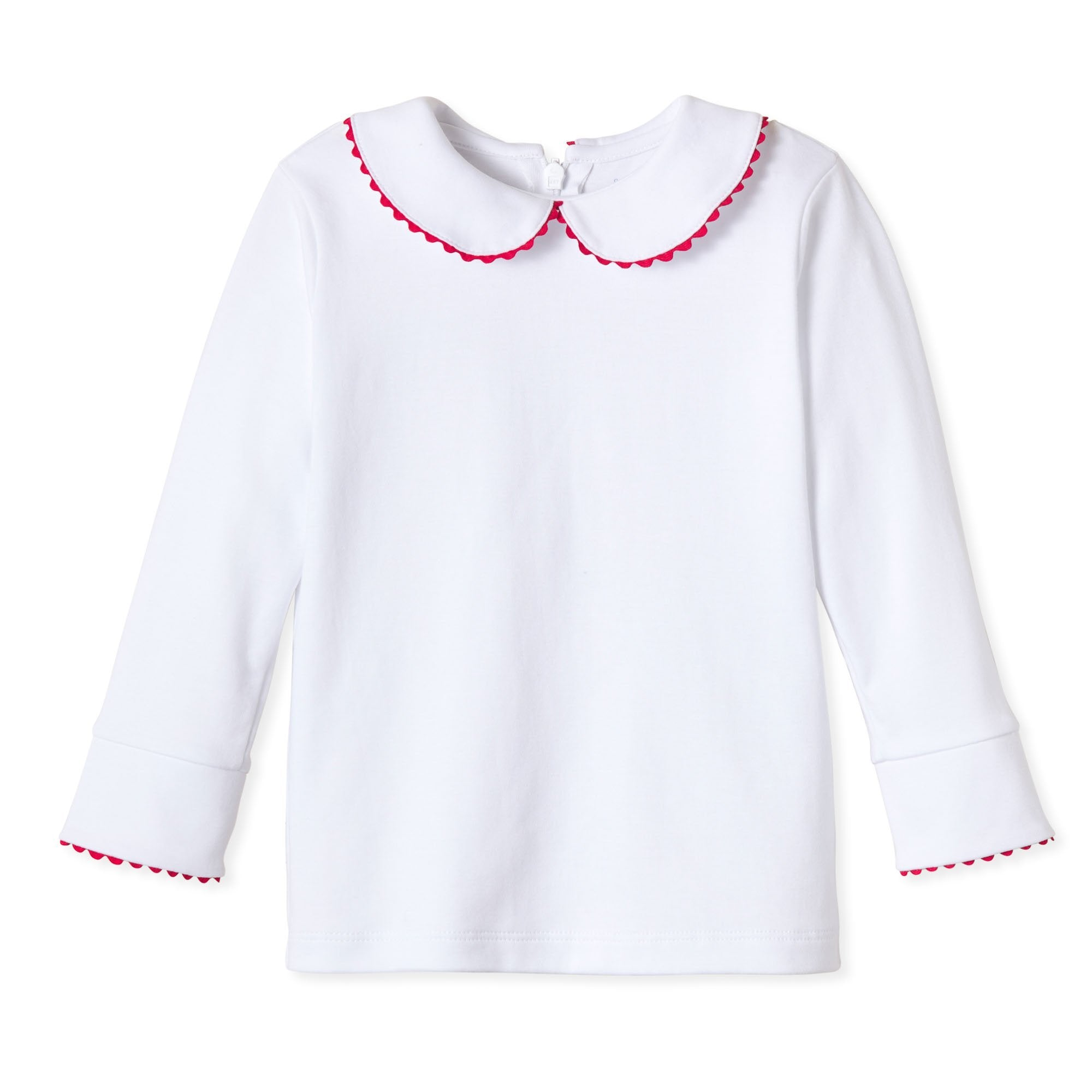 Isabelle Peter Pan Collar Blouse in White with Red Ric Rac