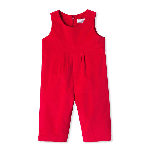 Red Tabor Girl's Overall with Peter Pan Collared Blouse