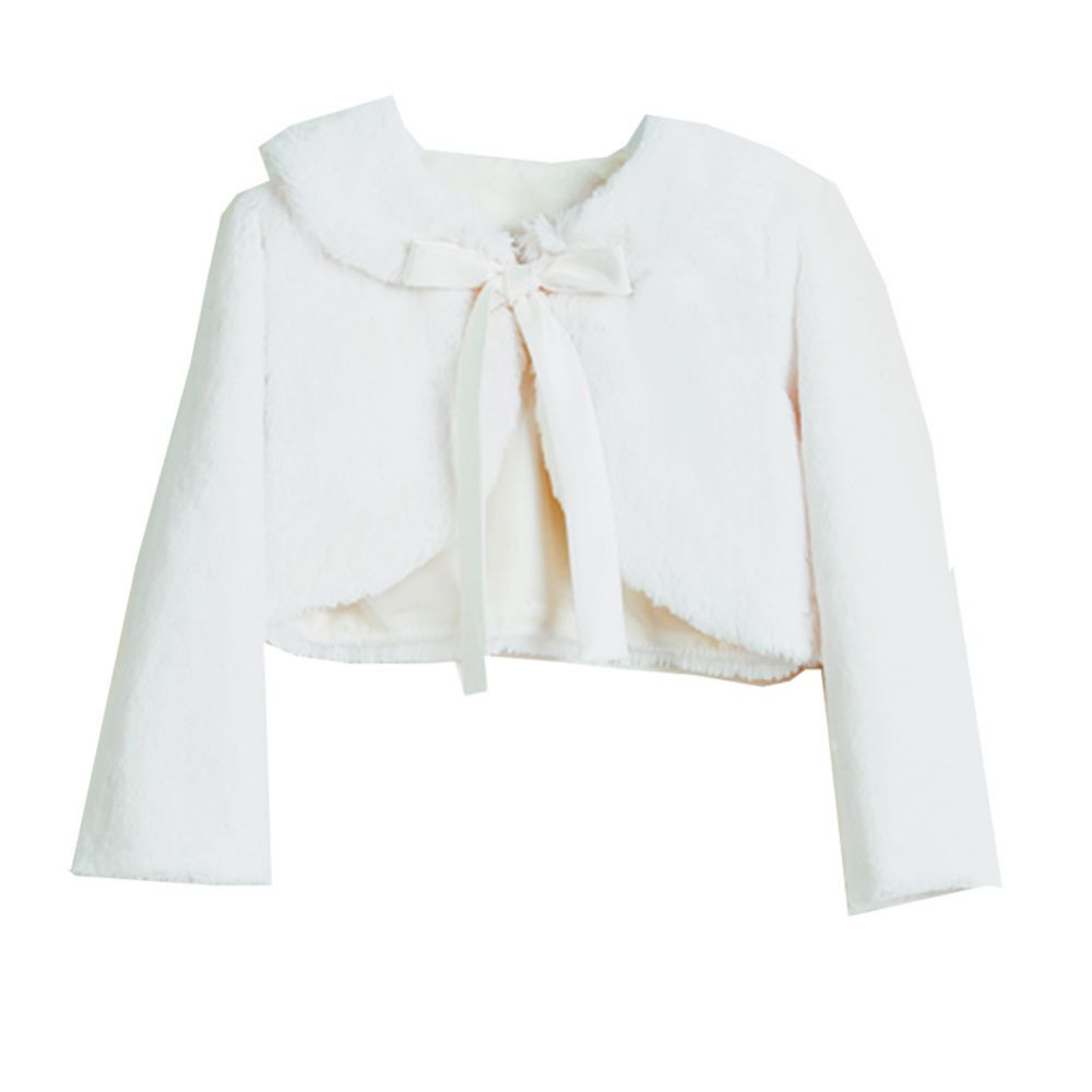 Faux Fur Cropped Jacket with Bow in Ivory
