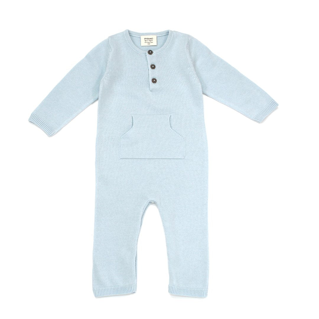 Organic Cotton Knit Kangaroo Pocket Coverall in Blue