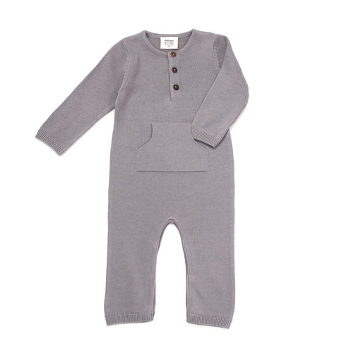 Organic Cotton Knit Kangaroo Pocket Coverall in Gray