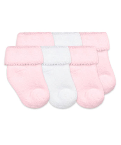 Cushion Terry Bootie Socks - 3 Pack in Pink