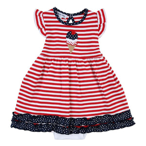 4th of July Ice Cream Applique Dress