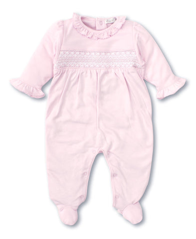 Hand Smocked CLB Footie & Hat Set in Pink