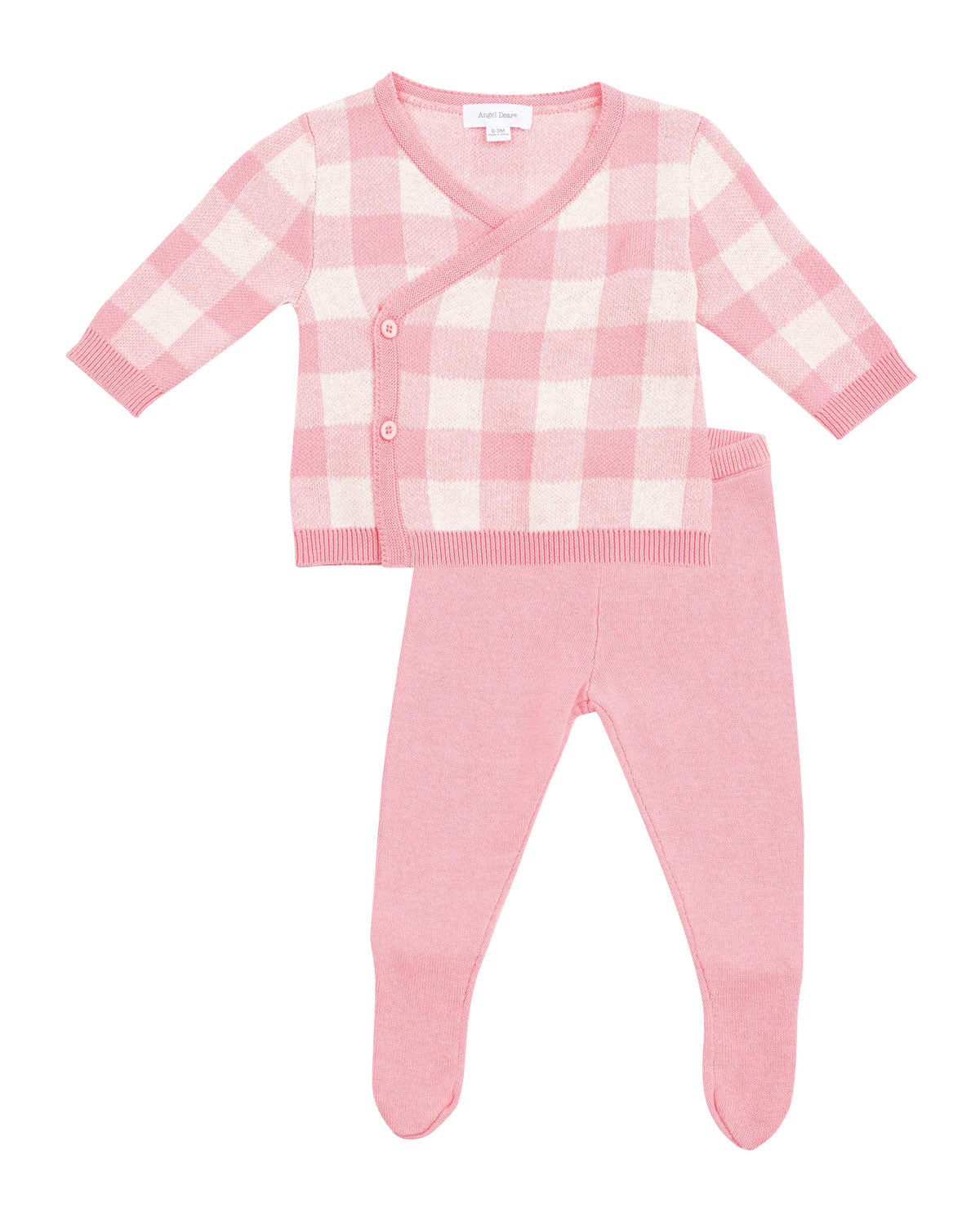 Knit Take Me Home 3 Piece Set in Pink Gingham