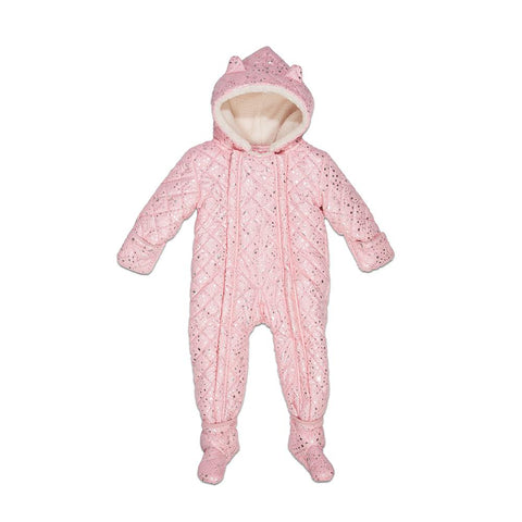 Quilted Perry Snowsuit in Pink Metallic